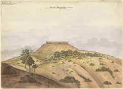 Satara.  Bare landscape with fort on hilltop; bungalow at foot of hill